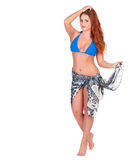 Young sexy girl in blue bikini and shawl posing Royalty Free Stock Photography