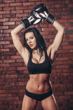 Young sexy girl with boxing gloves, on the Stock Photography