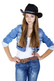 Young sexy girl in a cowboy hat. Isolated on white background Royalty Free Stock Photos