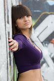 Young sexy girl in graffiti. Royalty Free Stock Photo