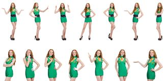 The young sexy girl in green dress isolated on white. Young sexy girl in green dress isolated on white Royalty Free Stock Images