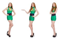 The young sexy girl in green dress isolated on white. Young sexy girl in green dress isolated on white stock image