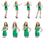 The young sexy girl in green dress isolated on white stock images