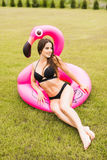 Young and sexy girl having fun and laughing and having fun on the grass near the pool on an inflatable pink flamingo in a bathing. Suit and sunglasses in summer Royalty Free Stock Photography