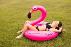 Young and girl having fun and laughing and having fun on the grass near the pool on an inflatable pink flamingo in a bathing royalty free stock images