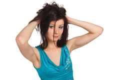 Young sexy girl with messy hair Stock Photos