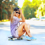 Young sexy girl outdoor fashion portrait Royalty Free Stock Photography