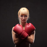 Young sexy girl over black background with boxing gloves Royalty Free Stock Photos