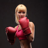 Young sexy girl over black background with boxing gloves Royalty Free Stock Photography