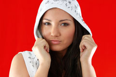Young girl over red background Stock Image