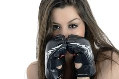Young sexy girl over white background with boxing gloves Royalty Free Stock Photos
