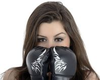 Young sexy girl over white background with boxing gloves Royalty Free Stock Images