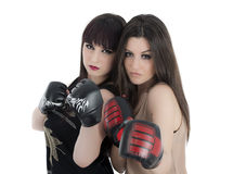Young girl over white background with boxing gloves Stock Photography