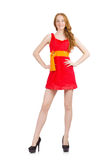 Young sexy girl in red dress isolated on write Royalty Free Stock Photography