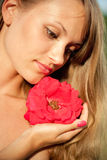 Young sexy girl with red flower #3 Stock Photography