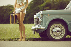 Young sexy girl on the road Royalty Free Stock Photography