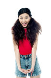 Young sexy girl in trendy outfit Stock Photo