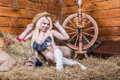 Young sexy girl in underwear  sit in the barn with hay Stock Photo