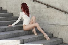 Young sexy girl in white body Royalty Free Stock Photography