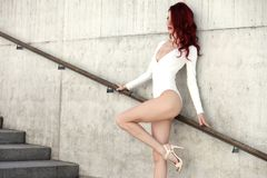 Young sexy girl in white body Royalty Free Stock Photos