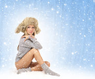 Young sexy girl in winter dress Royalty Free Stock Photography