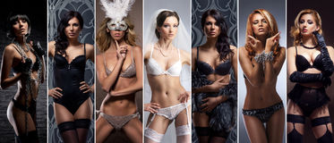 Young and girls in erotic underwear. Lingerie collection. Royalty Free Stock Photo