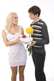 Young guy and girl flirt Royalty Free Stock Photos