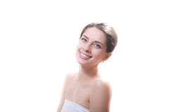 Young sexy happy lady in cotton towel isolated Royalty Free Stock Photos