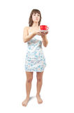 Young sexy maid with tea cup Stock Photography