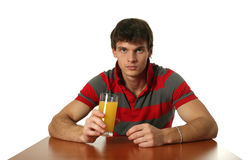 Young Sexy Man Drinking Orange Juice Stock Photo