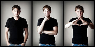 Young man model in black t-shirt Royalty Free Stock Image