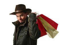Young Sexy Man with Shopping Bags Stock Photos