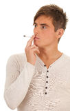 Young sexy man smoking Stock Photo