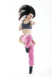 Young and modern dancer. On white background stock photography