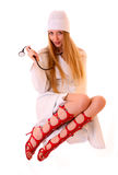 Young sexy nurse with stethoscope isolated Stock Images