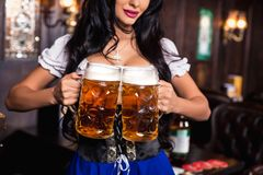 Young sexy Oktoberfest waitress, wearing a traditional Bavarian dress, serving big beer mugs at bar. Royalty Free Stock Images
