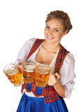 Young Oktoberfest woman. Wearing a traditional Bavarian dress dirndl serving beer mugs royalty free stock image