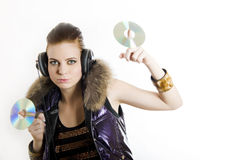 Young sexy party girl with headphones Royalty Free Stock Image
