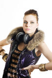 Young party girl with headphones Stock Photography