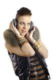 Young sexy party girl with headphones Royalty Free Stock Photos