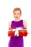 Young sexy party woman with a red big present Stock Image