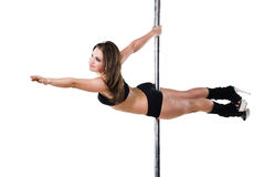 Young sexy pole dance woman Stock Images