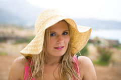 Young romantic summer woman Stock Photos