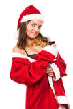 Young sexy Santa Girl with glass of wine Royalty Free Stock Images