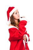 Young sexy Santa Girl with glass of wine Stock Photos