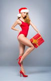 Young and sexy Santa girl in a red swimsuit Stock Photos