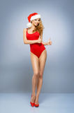 Young and sexy Santa girl in a red swimsuit Stock Images