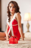 Young sexy Santa holding a gift, boudoir shoot. Attractive brunette with long hair wearing a provocative lingerie Xmas style Stock Photography
