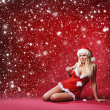 A young and sexy Santa in lingerie on a red background Stock Photos