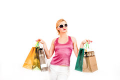 Young sexy shopping girl with colourfull bags Stock Photos